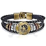 JewelryWe Bijoux Bracelet Homme Poisson Signe Astrologique Zodiaque Zodiac Charms Perle Manchette Cuir Alliage Fantaisie pour Homme et Femme Chaîne de Main Couleur Noir