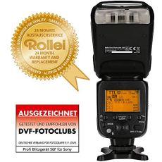 Rollei Pro Flash Unit 56F for Sony - Flash inalámbrico profesional con TTL, Manual-, maestro / esclavo y el modo de luz estroboscópica - Número de Guía 56 - Negro