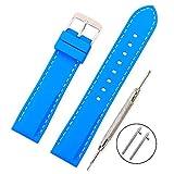 Vinband Cinturino in silicone cinturino caucciù multicolore impermeabile argento fibbia 18, 20, 22, 24 mm   cinturini orologi orologio cinturino (24mm, azzurro)