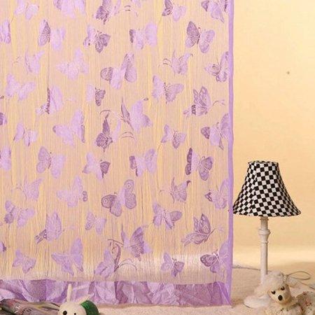 Puerta de la habitación ventana patrón de mariposa borla cortina de separador bufanda Valance. Morado