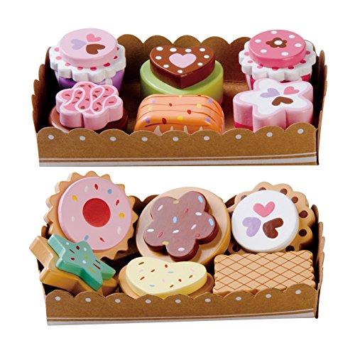 Torte di legno e biscotti Set (12 pezzi), con 2 vassoi In Cartoncino e la carta di selezione