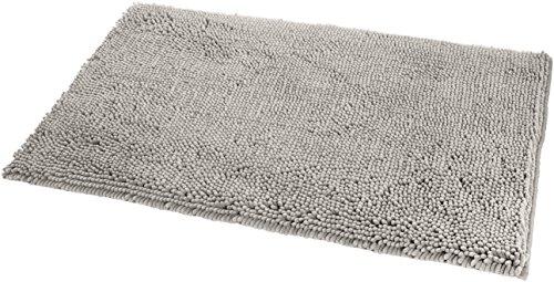 AmazonBasics - Tappeto da bagno in microfibra, a pelo lungo, antiscivolo, 0,53 x 0,86 m, Platino