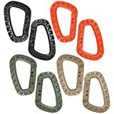 COM FOUR® 8x EDC Moschettone a forma di D in plastica ad alta resistenza in verde oliva, marrone kaki, nero e arancio (08 pezzi   kaki / nero / arancione / verde)