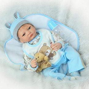 SYP Reborn muñecas Bebé niño Silicona Vinilo Recién Nacido 22 Pulgadas 55 cm realistas Baby Dolls Juguete Regalo Navidad