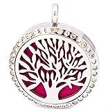 Anhänger Lebensbaum Halskette Damen Edelstahl Aroma Diffuser für Aromatherapie Duft Aromaöl mit 4 farbigen Filz-Pads + 1 x ätherisches Öl