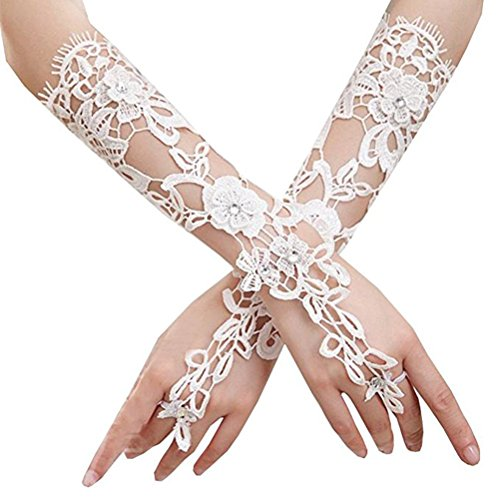 OULII Guanti da sposa in pizzo lungo Golves formale banchetto guanti per festa di nozze
