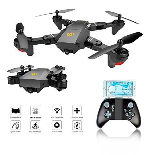Drone Tascabile,EarthSave XS809W WiFi FPV RC Quadricottero con fotocamera 2MP 120 ° Wide-Angle,One...
