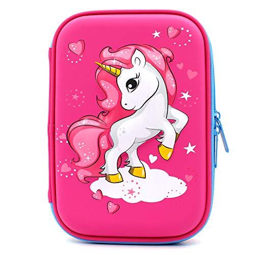 Astuccio rigido con unicorno volante goffrato - grande scatola per la scuola con scomparti - borsa...
