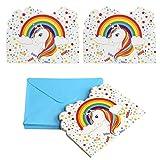 Kesote Set di 24 Biglietti d'Invito di Unicorno Biglietti d Invito per Battesimo Compleanno di Bambini, 24 Biglietti + 24 Busta