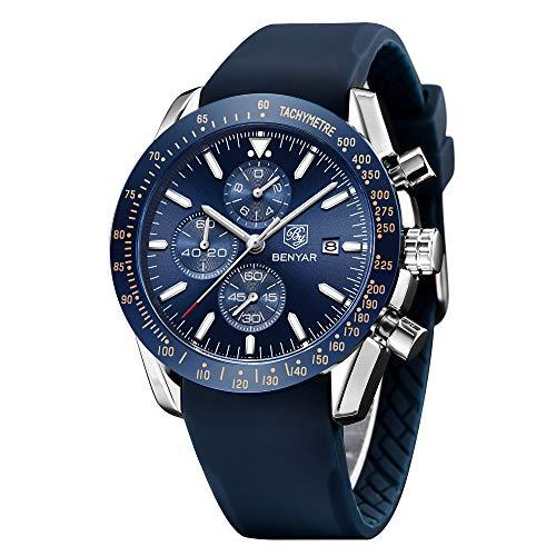 Orologio cronografo per uomo braccialetto in silicone quadrante blu lusso impermeabile-Orologio da uomo