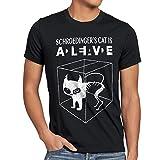 style3 Gatto di Schrödinger T-Shirt da Uomo, Dimensione:S;Colore:Nero