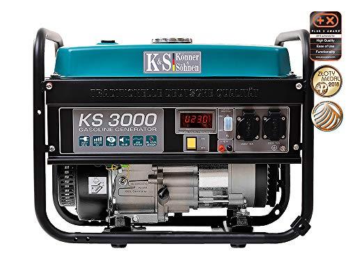 Könner & Söhnen KS 3000 - Generador de corriente (7 CV, motor de gasolina de 4 tiempos, alternador de cobre, 3000 W, 16 A, 230 V)