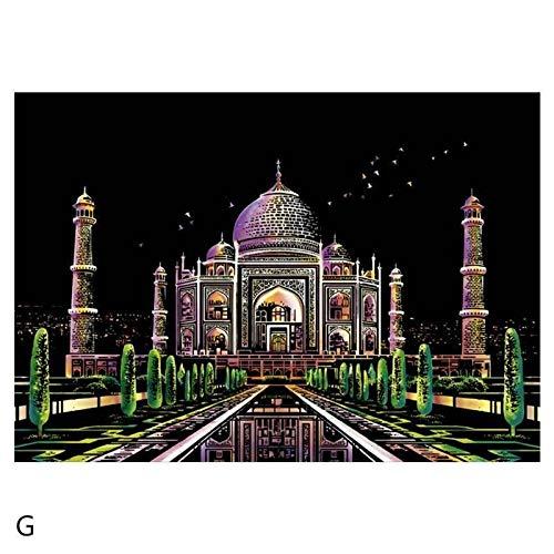 Peinture à gratter Coloré Metropolis Diy Scratch Peintures Scène De Nuit Adulte Décompression...