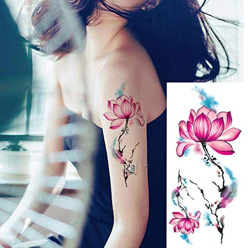 tzxdbh 5Pcs- Autoadesivo del Tatuaggio Colorato Disegno di Fiori di Pesco Donne Spalla Body Art Trasferimento di Acqua Autoadesivo del Tatuaggio Fashion-in Tatuaggi da su Grou Tbx024