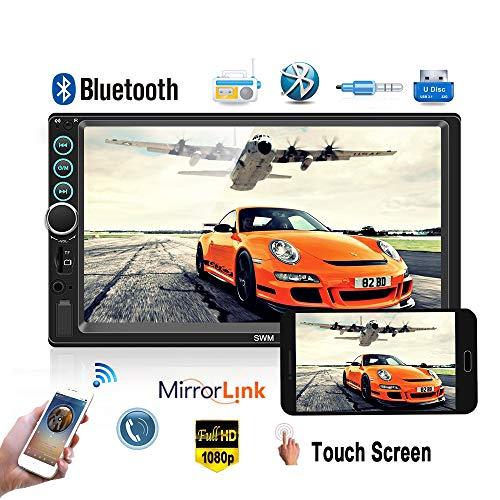 Podofo - Autoradio 2Din con telecamera di retromarcia audio Bluetooth touch screen da 7',lettore MP5, TF USB radio FM lettore multimediale con iOS/Android MirrorLink