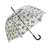 Parapluie femme cloche/dome transparent automatique - Cloche papillons noirs - Smati