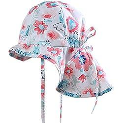 MeekEra Gorro de Verano para Bebé Anti-UV con Alas Anchas Floral Infantil Sombrero de Algodón con Barbijo Ajustable Sombrero de Sol para Verano Niño - Blanco - 3-4 Años