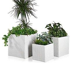 floristikvergleich.de 3x Blumentopf Rattan Blumenkübel Übertopf Planzenkübel Polyrattan Set Vase