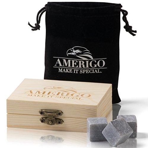 Premium Whisky Stones Set di Regalo da Amerigo - Annacquare il tuo whisky? Mai più! Set di 9 Whisky...