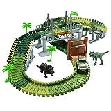 TONZE Pista Coches Flexible Juguetes con Dinosaurio Juego Electrónico para Niños 3 4 5 Años, Verde (CF1616)