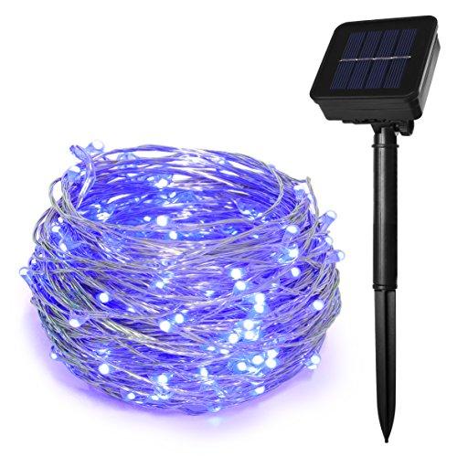 HEEPOW - Guirnalda de luces de hada con energía solar de 100 ledes con 3 hilos de cobre de 12 m, 8 modos impermeables para jardín, al aire libre/interior, hogar, valla, árbol (morado)