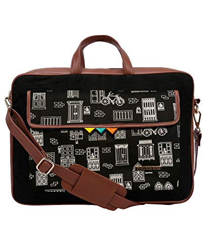 Funk For Hire Printed One Pocket Cotton Canvas Unisex 17 inch Laptop Bag Black