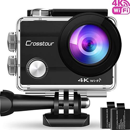 Crosstour Action Cam 4K WiFi Sports Kamera Helmkamera 30M Wasserdicht Unterwasserkamera Ultra HD 2' LCD 170° Weitwinkelobjektiv mit 2 Batterien und kostenlose Accessoires