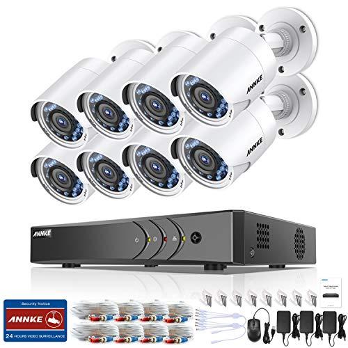 ANNKE Kit Sorveglianza 3MP DVR TVI 8 Canali 8 Bullet Camera 1080P HD TVI Telecamera di sicurezza con obiettivo da 3,6 mm, 66ft IR-Cut Chiara visione notturna, IP66 uso interno ed esterno senza HDD