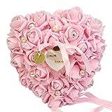 Gemini   Mall® rosa romantico matrimonio anello cuscino anello box cuore favori wedding Ring Pillow con elegante satin flora, Pink, taglia unica