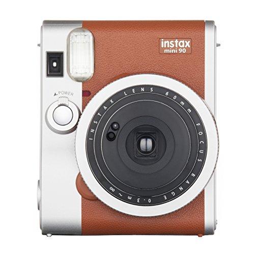 Fujifilm Instax Mini 90 Neo Classic - Cámara analógica instantánea (60 mm, f/12.7, 8x, pantalla LCD, exposición doble, macro, temporizador automático, flash), color marrón y plata