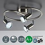 LED Deckenleuchte LED Deckenlampe LED Deckenspirale Deckenstrahler LED Lampe LED Leuchte Deckenleuchte Spot LED Deckenspot inklusive 3W GU10 warmweiss schwenkbar Metall matt nickel mit Chromring Wohnzimmer 3 flammig