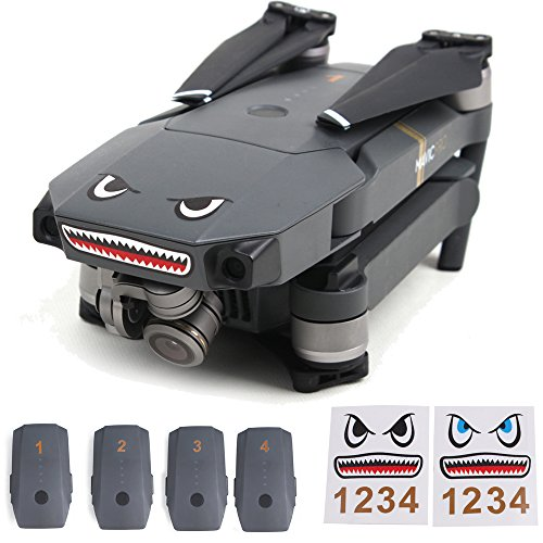 Flycoo 2 Set DIY Adesivo decalcomania DJI Mavic Air / Mavic Pro / Spark Drone e Batterie Numero...