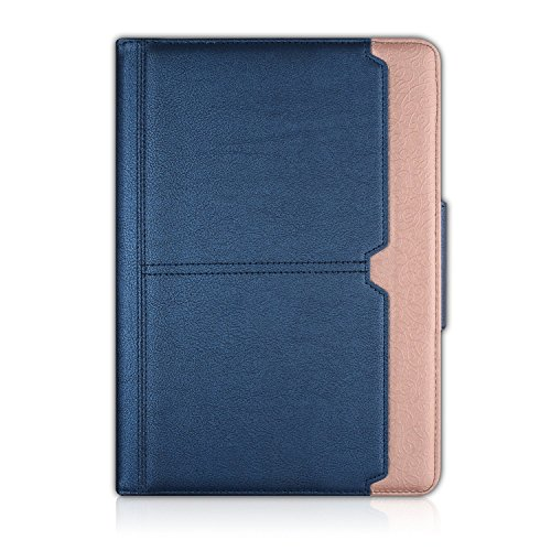 iPad Pro 10.5 Case,Thankscase Rotating Case Smart Cover with Document Card Pocket with Hand Strap with Great Pattern for New iPad Pro 10.5 Inch 2017 Release (Navy Rose Plus)