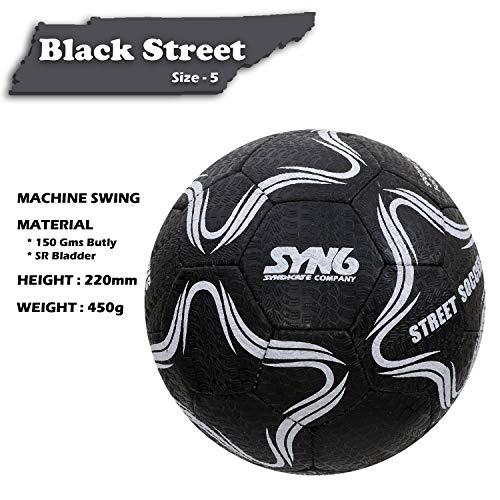 SYN6 Football, Street Soccer Ball Black, Made with Recycled Tyre, Excellent for Concret and Hard Grounds, Size 5 (Black) (Black)