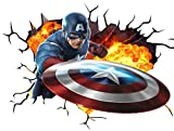 Marvel Avengers Captain America V001 Wall crack Smash Wall Sticker autoadesivi poster Wall Art Dimensioni 1000 mm larghezza x 600 mm di profondità (grande)