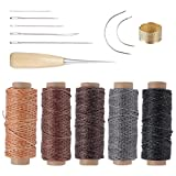 ROSENICE Herramienta de artesanía de cuero agujas de coser a mano de tapicería de cuero de lona accesorios de costura de bricolaje 14 unids