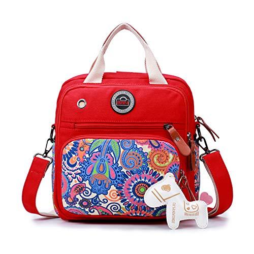 ❤ Mochilas de Pañales y Biberones para bebés a Prueba de Agua, Nuevo diseño - Bolsa de Pañales Multifuncional con Bolsillo bolsa de fin de semana (Roja)