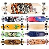 FunTomia® Freerider Longboard monopatín - 107cm x 26cm - rodamientos Mach1® - Hecho con 9 Capas de Madera de Arce