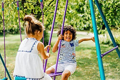 Another cheap metal swing set which is to easy to build, rust-resistant and offers good maximum user weight.