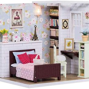 Skwenp Regalo de cumpleaños de Bricolaje Mini Kits de la casa de muñecas DIY Cottage Princesa decoración de la casa Adornos for la Infancia Miniatura Dollhouse Kit