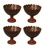 Hand made Coconut shell Desert cup Mat Finishing (set of 4) with Pouch