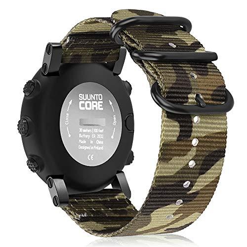 FINTIE Cinturino per Suunto Core - Morbido Nylon Sport Watchband Wrist Strap con Fibbie in Acciaio Inossidabile per Suunto Core Smartwatch, Camo Verde