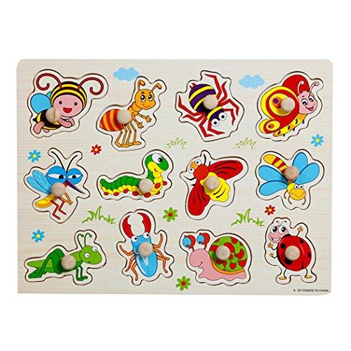 SIPLIV Pegged Puzzle in legno Jigsaw Puzzle per bambini da 2 a 5 anni, Home Learning Primi piani...