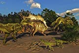 Corey Ford/Stocktrek Images – A Stegosaurus tries to defend itself from two Torvosaurus dinosaurs. Photo Print (86,36 x 57,40 cm)