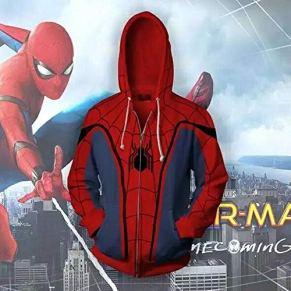 Adultos con Capucha del Varón 3D Cosplay Heroes Return To Spiderman Cosume con Capucha Superhéroe Suéter con Capucha De La Cremallera De La Chaqueta XL