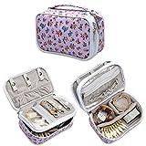 Teamoy Organizzatore di monili, valigetta di viaggio per la collana, il braccialetto, gli orecchini, gli anelli e più, il doppio strato, il tessuto impermeabile, i vari reparti, Fiori viola
