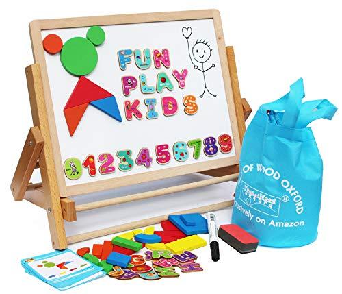 Toys of Wood Oxford Cavalletto per Bambini - Lavagna Magnetica per Bambini con Lettere, Forme...