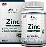 Zinc Tablets 40mg | 365 Tablets (12 Month's Supply) | 1 Easy to Swallow Zinc Gluconate Tablet Per Day | Made in the UK by Nu U Nutrition