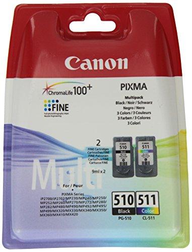 Canon PG-510/CL-511 Cartuccia Originale Getto d'Inchiostro, 2 Pezzi, Nero/Colore