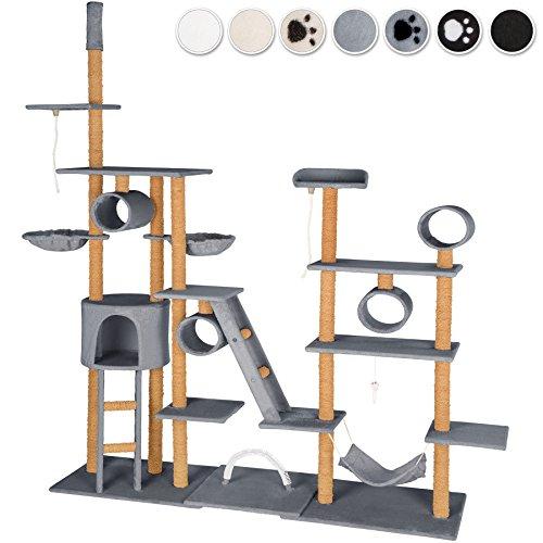 tectake arbre chat xxl griffoir hauteur de plafond 4 tunnels 2 cordes jouer diverses. Black Bedroom Furniture Sets. Home Design Ideas